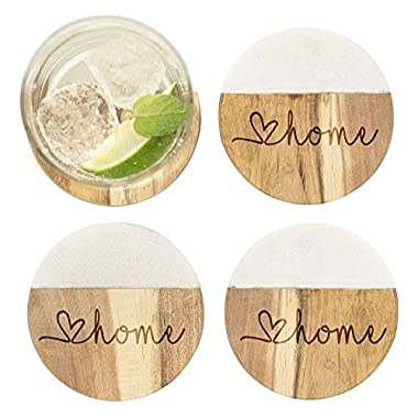 Love Home Marble & Acacia Wood Coasters, Set of 4