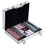 HOMCOM Pokerkoffer Pokerset 200 Pokerchips 2 x Kartenspiel 5 x Würfel 1 x Alukoffer 4 Farben 29,5 x 20,5 x 6,5 cm 11,5 g/Chip aus Kunststoff