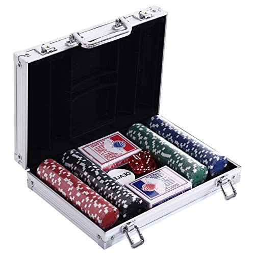 HOMCOM Pokerkoffer Pokerset 200 Pokerchips 2xKartenspiel 5xWürfel 1xAlukoffer Poker Set Jetons Koffer Alu+ Polystyrol 29,5x20,5x6,5 cm