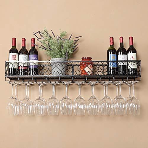 Wandbekerhouder van smeedijzer, drankhouder, drankhouder, wijnkast, glas, links, drankhouder keuken bar - houder van wijnglas (kleur: zwart, afmetingen: 120 x 25 x 1 120*25*16cm-black