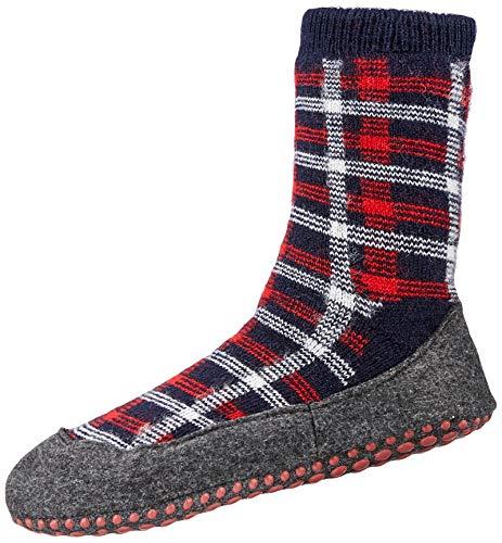 FALKE Unisex Kinder Chequed Cosyshoe K HP Hausschuh-Socken, blau (Dark Navy 6376), 37-38 (11-12 Jahre)