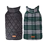 YOUTHUNION Dog Jacket Reversible British Style <span class='highlight'>Plaid</span> Waterproof Dog Vest Autumn Winter Warm Cozy Waistcoat for Small Medium Large Dogs (S, <span class='highlight'>Green</span>)