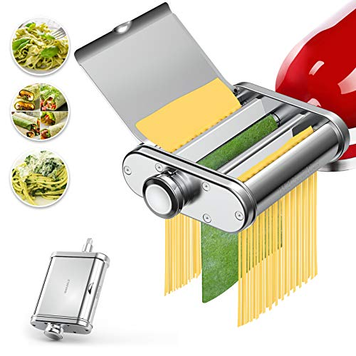 Pasta Maker Attachment 3 in 1 Set for KitchenAid Stand Mixers Stainless Steel Pasta Maker Machine Accessories Included Pasta Sheet Roller Spaghetti Cutter Fettuccine Cutter Brush By WANJIALE