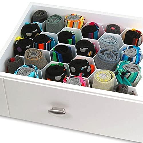 HANGERWORLD Organizer Divisore per Cassetti Separatori per cassetti per cassetti in Plastica Bianca per Biancheria Intimo Ufficio Trucchi Cinture Cravatte
