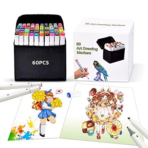 Pachock 60 color Arte Dibujo Marcadores de Punta Doble - Doble Cara Marcadores del...