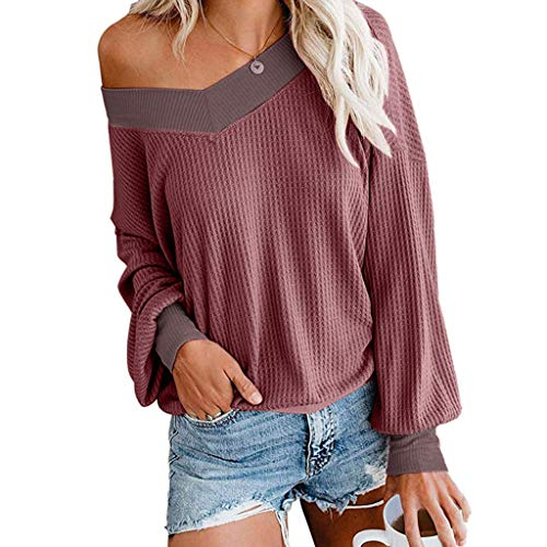 Womens Fashion Off Shoulder Pullover Knit Tops Long Sleeves Loose Sweatshirts E-Scenery