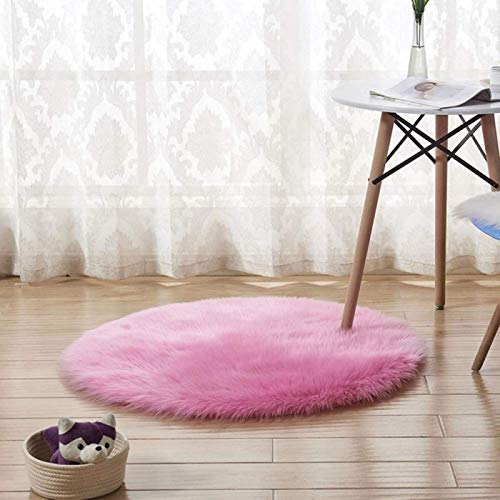 XIUMI Faux Fur Sheepskin Rug Round Furry Carpet Or Throw for Chairs, Stools and Couches,Machine Washable Imitation Wool Yoga Carpet Non Slip Mats,Pink-80cm/21.5Inch