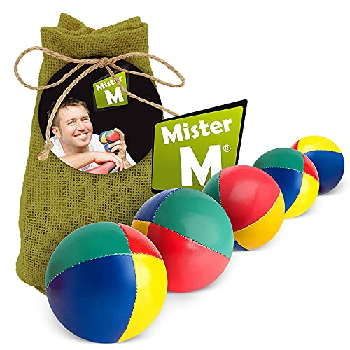Mister M Jonglierbälle Anfänger 5er Set + Gratis Online Lehrvideo - 100g pro Jonglage Ball - Jonglierbälle Kinder Set im grünen Jutebeutel - Jonglieren Set geeignet für Anfänger und Profis