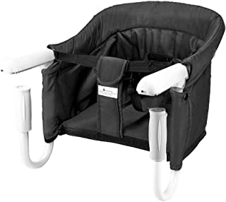 BeMAX Safe Hook On High Chair, Dining Table Chairs for Baby or Toddler, Washable Feeding Seat, Tight Fixing Clip on Table High Chair (Black)