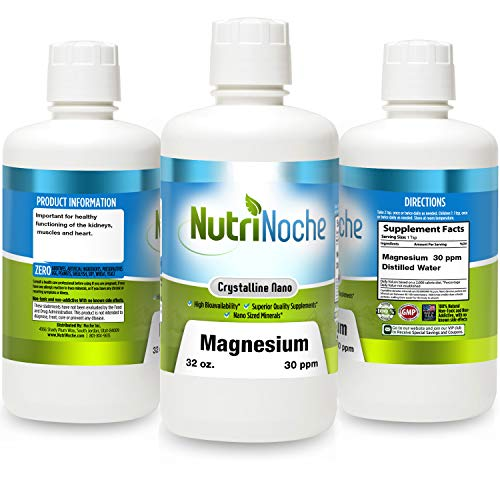 NutriNoche Liquid Magnesium- Concentrated Dose of 30 PPM of Nano Magnesium (32 Ounces) - Colloidal Minerals