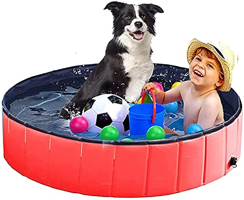 AWITHZ Plastic Dog Pool Pet Swimming Pool for Medium Dogs 47'x12' Foldable Outdoor Bathing Tub Hard Kiddie Pool with Dog Nail Clippers