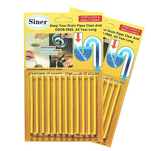 Siner Drain Cleaner Sticks, Sink Deodorizer As Seen On TV, Sink Freshener Cleaner Sticks to Keep Odor Free for Bathroom, Kitchen, Toilet, Shower drain (Lemon, FBA)