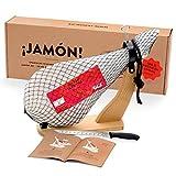 Jamon-Box Nr. 1 - Serrano Schinken 4,5 Kg im Geschenkkarton mit Zubehör | Schinken-Set inklusive Schinkenständer, Messer & Schneide-Anleitung | ideal für Schinken-Einsteiger & als...