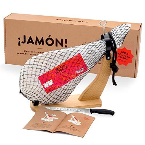 Jamon-Box Nr. 1 - Serrano Schinken 4,5 Kg im Geschenkkarton mit Zubehör | Schinken-Set inklusive Schinkenständer, Messer & Schneide-Anleitung | ideal für Schinken-Einsteiger & als Geschenk