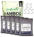 5 Pack Bamboo Charcoal Air Purifying Bags with Hooks,Charcoal Bags Odor Absorber for Home,Odor Eliminator,Closet Deodorizer, Car Air Freshener(5 Pack, 200g Each)
