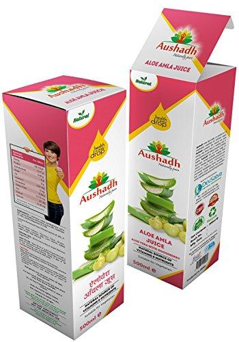 Aushadh Aloevera Amla Juice 500 ml (Aloe Vera con grosella espinosa),