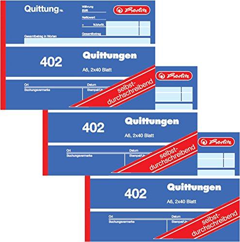Herlitz Quittungsblock 402, selbstdurchschreibend, A6 quer, 2 x 40 Blatt (3 Stück)