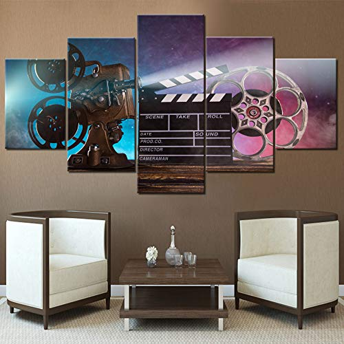 Wall Pictures for Living Room Retro Movie Projector Paintings Black Film Chalkboard Artwork Multi Panel Canvas Wall Art Modern House Decor Wooden Framed Ready to Hang Posters and Prints(60''Wx 32''H)