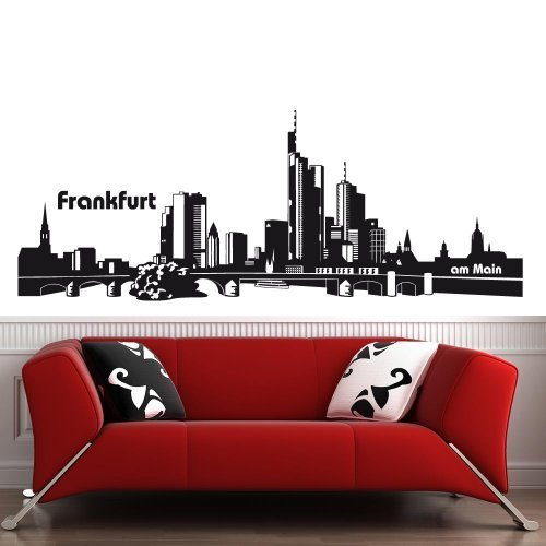 wandtattoo-factory Skyline Frankfurt - 190 x 70cm - Farbe: Schwarz