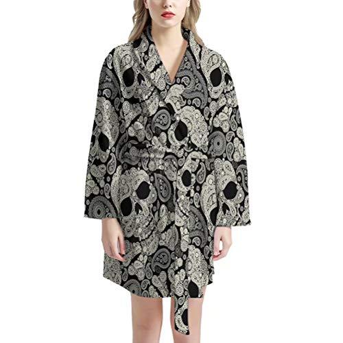 AFPANQZ Damen-Bademantel, kurzer Kimono, knielang, weiche Nachtwäsche mit Vordertaschen - - Einheitsgröße