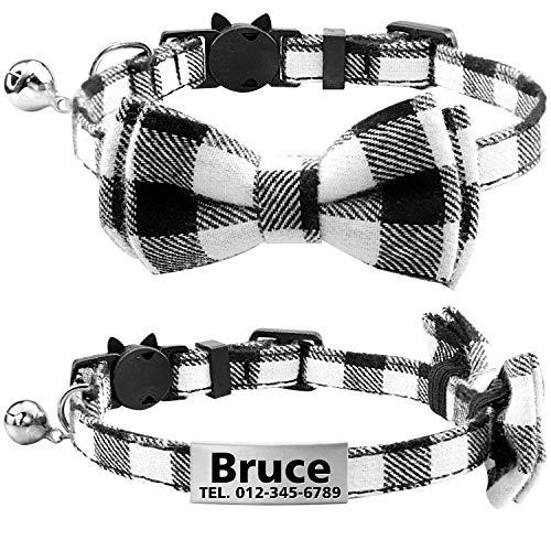 TagME Collar de Gato Personalizado con Pajarita & Campana, Placa de Identificación de Acero Inoxidable Grabada con Nombre & Número de Teléfono,Negro
