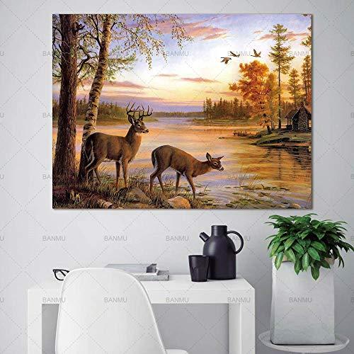 Zwei Hirsche im Wald Poster und Drucke Home Decoration auf Leinwand 40X60cm
