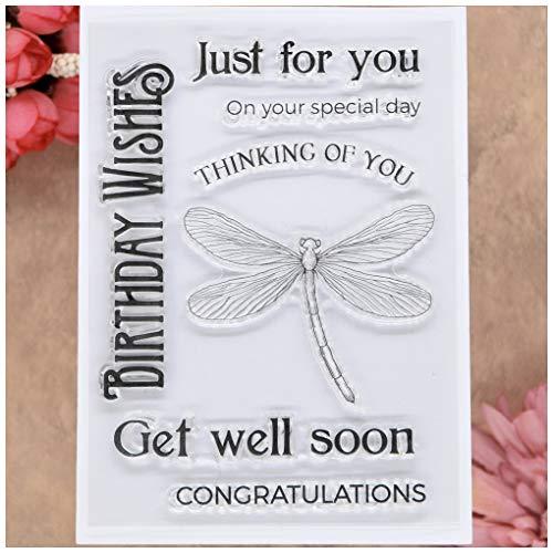 KWELLAM Words Just for You Thinking of You Get Well Soon Felicidades cumpleaños deseos libélulas transparente sellos para hacer tarjetas decoración y DIY Scrapbooking
