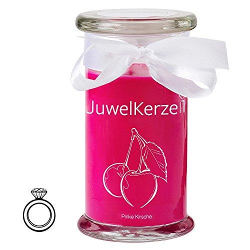 JuwelKerze Pinke Kirsche - Kerze im Glas mit Schmuck - Große rosane Duftkerze mit Überraschung als Geschenk für Sie (Silber Ring, Brenndauer: 90-120 Stunden)(S)