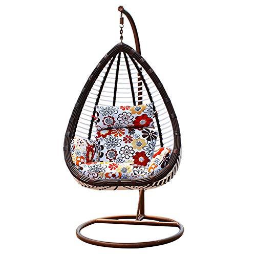 DFGH Silla Colgante de ratán en Forma de Huevo con reposabrazos - Sillón con Soporte y Base Totalmente de Acero, Juego Completo de Muebles de Patio de jardín al Aire Libre/Interior