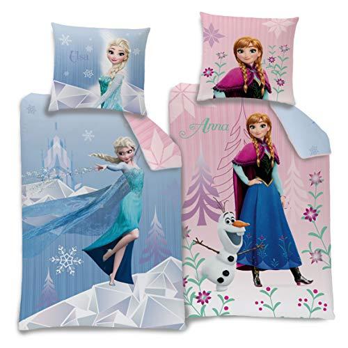 Familando Wende Bettwäsche-Set Disney`s die Eiskönigin 135x200cm + 80x80cm Biber/Flanell Frozen 2 Motive