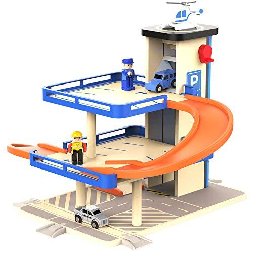 TOP BRIGHT Parkhaus für Kinder,Parkplatz Holz 3 Ebene,Garage Spielzeug mit Autos und Aufzug
