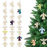 Navidad Recortes de Madera sin Acabado (Pack de 24) - Recorte Personalizado (Ángel, Charmeine, Querubín, Cupido) - Rebanadas de Madera para Arte Niños, Manualidades, Decoración del Hogar