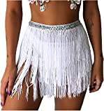 Rave Clothes Hip Scarfs Women White Fringe Skirt Sequence Tassel Space Cowgirl Costume