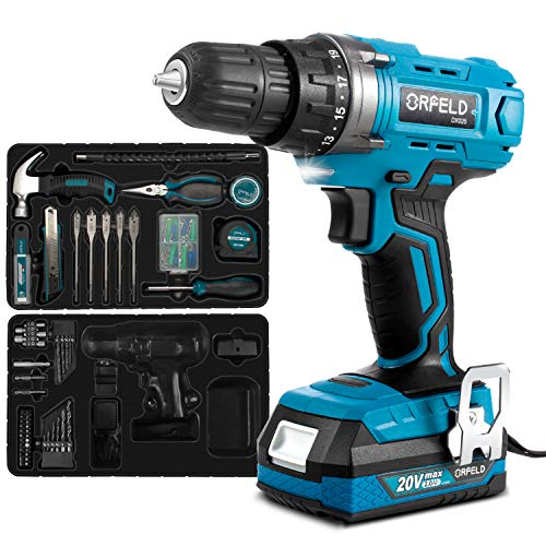 ORFELD Cordless Drill Home Tool Kit with 20V Lithium Battery Power Drill Set for Home Improvement and DIY Japanese Motor and 165pcs Accessories Blue