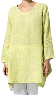 CRYYU Women Plus Size Cotton Linen O-Neck Long Sleeve Asymmetric Tops Blouse