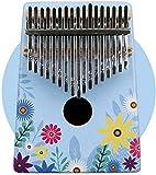 Kalimba Piano De Pulgar Marimbas Thumb Piano Marimba 17-Key thumb Piano con flores coloridas Forest Drama Pintado Koa Madera Mahogany Alfabeto Para Niños Adultos Principiantes (Color: Blue2, Tamaño: 1