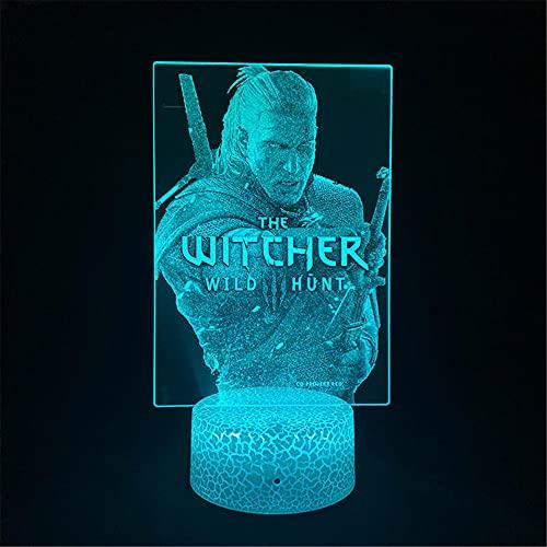 The Witcher 3 luces 3D de caza salvaje lámpara de sala de estar 16 colores cambiantes lámpara de mesa y para niños niños niñas decoración de habitación cumpleaños regalo de Navidad