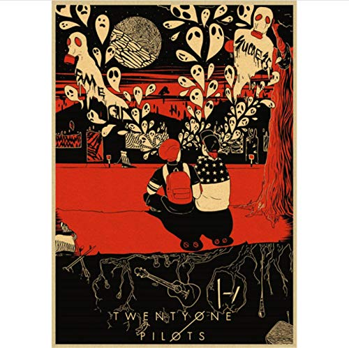 yitiantulong Drucken Sie Auf Leinwand Frameless Twenty One Pilots Poster Vintage Retro Rockband Musik Gitarre Matte Antique Wall Sticker Y524 (40X60Cm) Ohne Rahmen