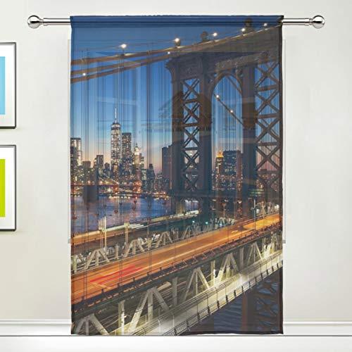XiangHeFu Voilage en tulle New York City avec coucher de soleil Manhattan pour chambre à coucher, 140 x 200 cm, 1 panneau