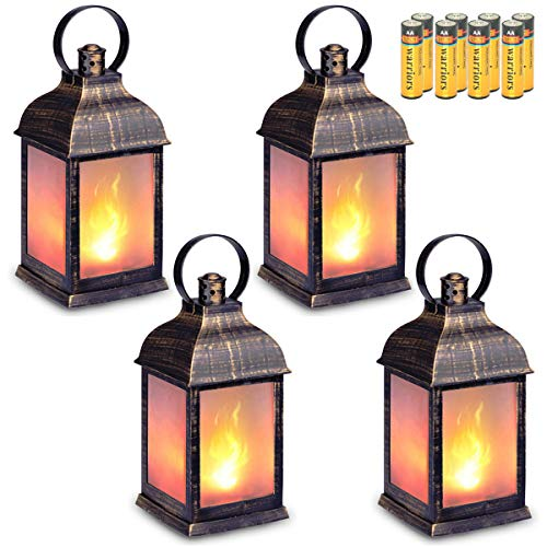 zkee 11' Vintage Style Decorative Lantern,Flame Effect LED Lantern,(Golden Brushed Black,Remote Timer) Indoor Lanterns Decorative,Outdoor Hanging Lantern,Decorative Lanterns (Set of 4)