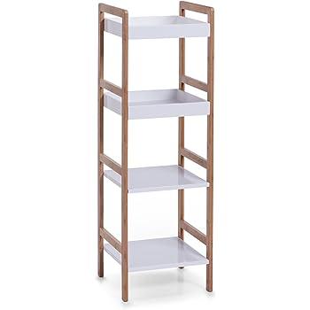 Zeller 18631 - Estantería Tipo Escalera (4 estantes, 36 x 33 x 110 cm, bambú y Fibra de Densidad Media), Color Blanco: Amazon.es: Hogar