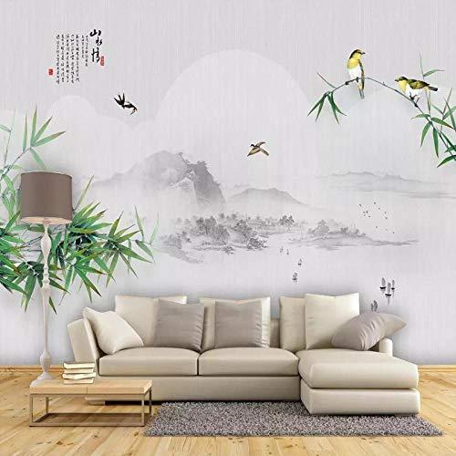 XHXI Concepción artística tinta paisaje bambú TV sofá Fondo pared flores y pájaros película pared papel tapiz Mural sin cos papel Pintado de pared tapiz Decoración dormitorio Fotomural-150cm×105cm
