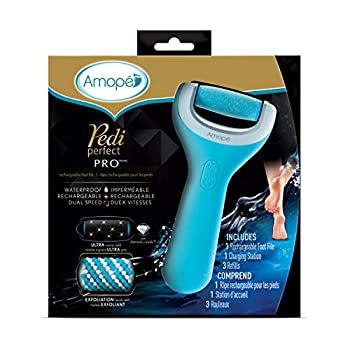 Amope Pedi Perfect Wet & Dry Foot File Callous Remover for Feet Hard and Dead Skin - Rechargeable & Waterproof  Packaging May Vary