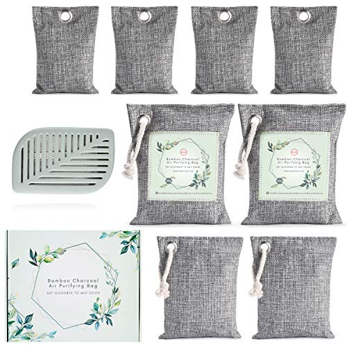 Anakz Activated Bamboo Charcoal Air Purifying Bags (9 Pack) - Nature Fresh Air Purifier Bag - Odor Absorber for Home, Car and Office - Refrigerator Deodorizers - Kid & Pet Friendly - Shoe Freshener