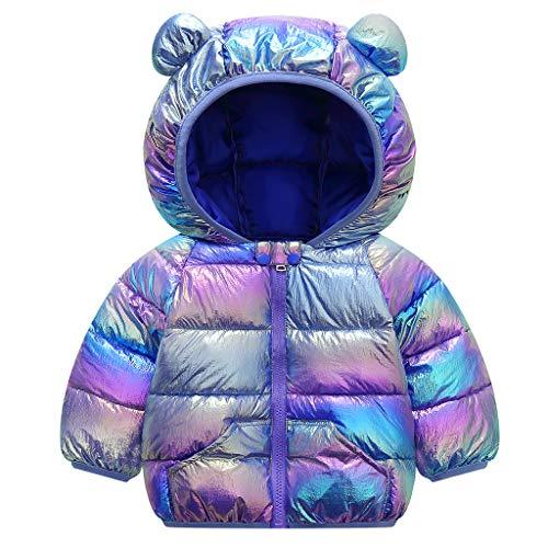Baby zimowa kurtka z kapturem niemowlęta płaszcz jesień ciepły lekki wyściełany wiatroszczelny strój niebieski 6-12 miesięcy