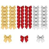 BUZIFU 72 PZ Fiocchi di Albero di Natale Mini Fiocchi di Natale Archi di Decorazione Natale in 3 Colori con Fascetta Dorata Ornamento di Albero di Natale per Confezioni Regalo (5,5 x 5 cm)