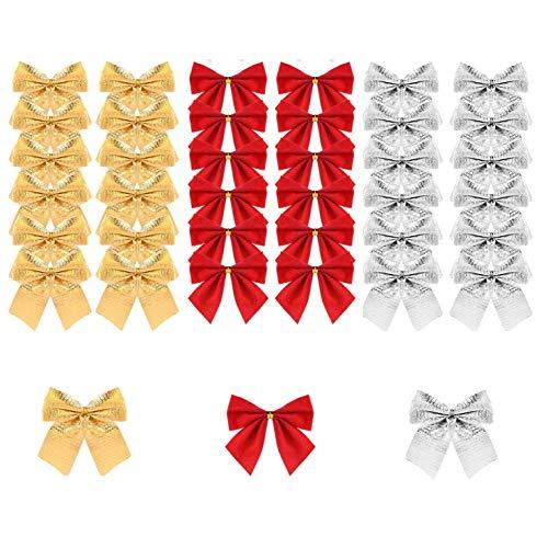 BUZIFU Lazos de Navidad 72 unidades Lazos para Árbol de Navidad Pequeños Lazos Navideños Mini Lazos Rojos Dorados Plateados para Decorar Regalos y Manualidades de Navidad/Año Nuevo/Día de San Valentín