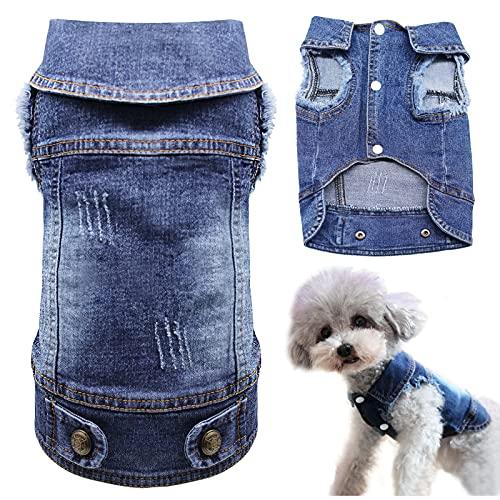COREAET Dog Jeans Jacket Pet Clothes Puppy Denim Jumpsuit Lapel Vests Hooded Hoodie for Small Medium Dogs, Classic Blue One-Piece Pet Cat Costume Apparel, L