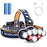 MOSFiATA Headlamp, Headlight 13000 Lumen 8 LED 8 Modes 18650 USB Rechargeable Waterproof Flashlight with Red Light Head Lamp Camping Gear for Adults Camping Hunting Running Hiking Fishing (Classic)