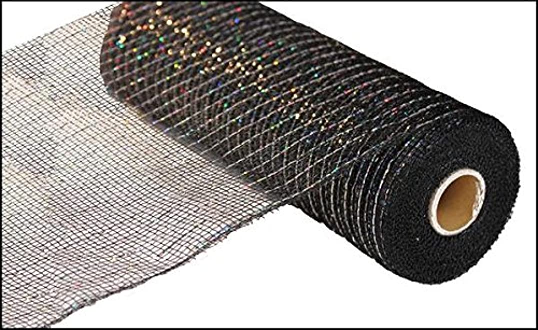 10 inch x 30 feet Deco poly mesh ribbon - Metallic black with laser silver foil